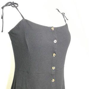 Topshop Dresses - Topshop Black Ribbed Button Up Dress A080201